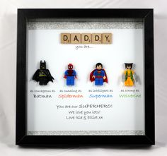 Personalisierte LEGO Style Superhelden Frame - Batman, Spiderman, Superman, Wolverine Batman figures have invariably been Diy Father's Day Gifts, Father's Day Diy, Fun Gifts, Fathers Day Crafts, Gifts For Father, Fathers Day Presents, Fathers Day Ideas, First Mothers Day Gifts, Batman Spiderman