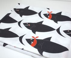 Quilting Cotton -Shark fabric - White & Black versions