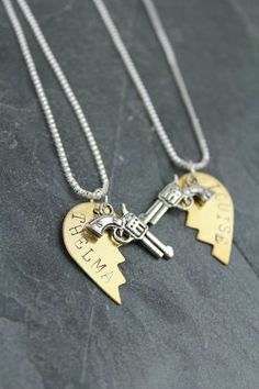 Do you have a special person that brings out the Rebel in You? This Thelma & Louise paired necklace is the perfect celebration of your unique friendship. Hand stamped, this shiny brass and silver combo make this the perfect match for any outfit. Each order contains two heart necklaces - one for Thelma and one for her Louise. 18 inch Sterling Silver Chain  Brass Engraved Split Heart Sterling Silver Revolver #bourbonandboots