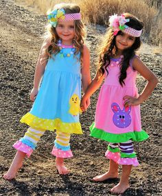 Love the cute chick and bunny Easter outfits for girls!