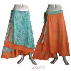 Nepal Sari Long Wrap Dress Skirt Gypsy Boho Flowers via Etsy