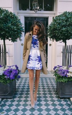 Camel Coat And Floral Dress 2017 Street Style