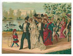 Mariage  Cortège Mariée Fillette - Chromo Chromolithographie sur papier fin