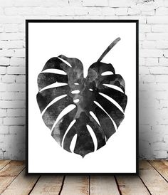 Monstera print Watercolor art Scandinavian design by Wallzilla