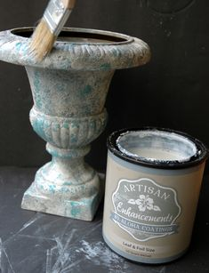 New Urn.Aged to Fabulous Imperfection! Concrete Crafts, Concrete Projects, Diy Projects, Patina Paint, Garden Urns, French Decor, Diy Painting, Painting Hacks, Crackle Painting