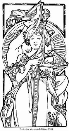 Risultato immagine per Alphonse Mucha coloring pages