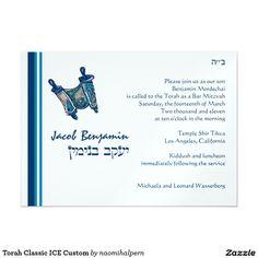 Torah Classic ICE Custom 5x7 Paper Invitation Card