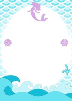 Invitation or message background Mermaid Under The Sea, Under The Sea Party, The Little Mermaid, Little Mermaid Birthday, Little Mermaid Parties, Mermaid Baby Showers, Baby Mermaid, Mermaid Invitations, Birthday Invitations