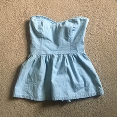 Kendall and Kylie denim strapless top Kendall and Kylie light wash denim strapless sweetheart neckline top never worn Kendall & Kylie Tops