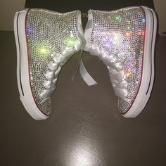 dd9fe3738348 Bling Converse crystallized with Swarovski and rhinestones. Bride Sneakers