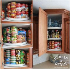 Burlap & Denim shares a great way to keep all your canned goods within easy reach: lazy susans in your cupboard.