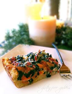 Smoked salmon, spinach and goat cheese strata with toasted gluten-free waffles instead of bread