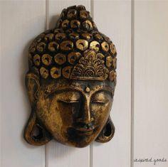 Rustic Gold Wooden Thai Buddha Mask Wall Plaque Hanging Art Buddha Head Ornament