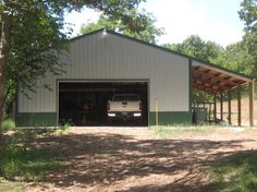 How to construct a simple pole barn garage is easier than building any other type of a garage. It utilizes basic building techniques to makes it sturdy. Build Your Own Garage, Build A Dog House, Pole Barn Garage, Pole Barns, Carport Garage, Octagon Picnic Table, Building Extension, Barn Shop, Porch Ceiling