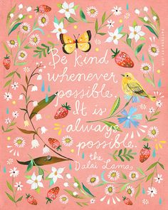 Pink Be Kind art print | Dalai Lama Quote | Floral Painting | Katie Daisy | 8x10 | 11x14