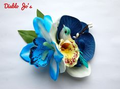 Blue Orchid and Bird hair flower, Pin Up, Rockabilly, Vintage Hair style by DiabloJos on Etsy