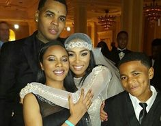 Kevin Gates and Dreka with family on their wedding day