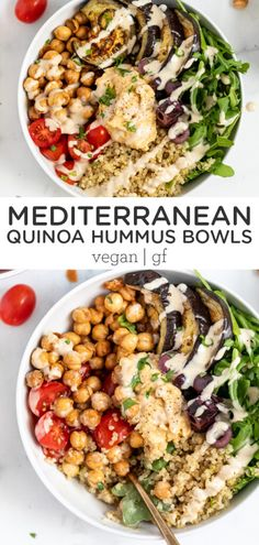 These Mediterranean hummus bowls combine quinoa, grilled eggplant, and roasted chickpeas for a healthy and satisfying vegan and vegetarian meal. This gluten-free dinner recipe is easy to make and great for meal prep! Topped with a homemade tahini dressing. Easy Meatless Dinner Recipe, Gluten Free Recipes For Dinner, Vegetarian Recipes Easy, Healthy Eating Recipes, Vegan Lunch Recipes, Easy Healthy Dinners, Vegan Dinners, Easy Dinner Recipes, Dinner Healthy