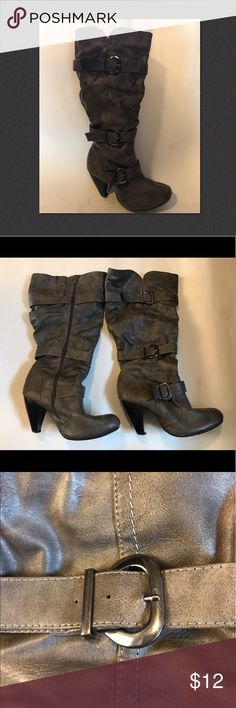Women's Wide Width Boots ✴️The 👢Were Made For Walkin✴️ Women's Wide Width Boots.  High Heels. Three Silver Accent Belts. Color us a rustic gray with black heel.  Full length Zipper on inner leg. Lining is very soft padding almost like a fleece. Worn less then 5 times. Clean. Smoke free. Shoes Heeled Boots