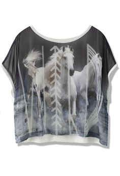 Put On Your Pipe Horses Print T-shirt