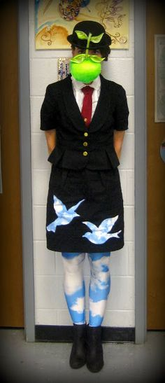 This woman may be the best art teacher ever. Magritte halloween costume DIY