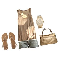 """Brown and Gold"" by mmessenger on Polyvore"