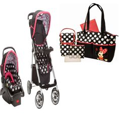 Baby, Infant Stroller Travel System and Diaper Bag Baby Bundle Set - Minnie Mouse Coral