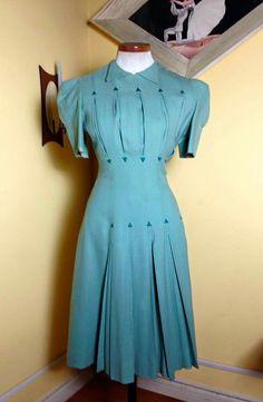 40s western dress turquoise blue green day dress swing war era pleats short sleeves summer dance lindy