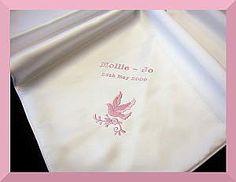 Baptism shawl blanket with Pink dove design