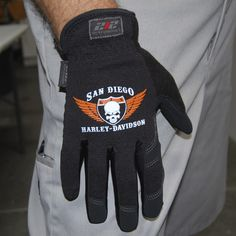 Harley Davidson San Diego custom screen printed glove  www.212gloves.com