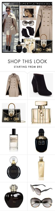 """""""NEUTRAL CAPE STYLE TRENCH COAT"""" by polyvore-suzyq ❤ liked on Polyvore featuring Junya Watanabe Comme des Garçons, Victoria Beckham, BCBGeneration, Gucci, D.S. & DURGA, Alexander McQueen, Bulgari, Cartier and Christian Dior"""