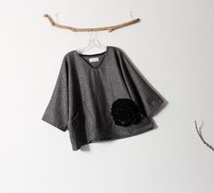 black flower on gray tweed wool top over by linenclothingbyanny