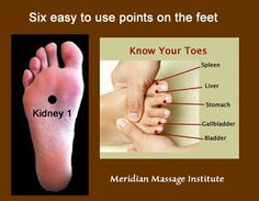 Six of the twelve meridians begin or end on the feet! Regardless of the type of massage you are practicing, integrating meridian massage is simple! By applying pressure to each of these points you activate all six meridians quickly and effectively. Massage Tips, Massage Benefits, Massage Techniques, Massage Therapy, Facial Massage, Massage Body, Acupressure Treatment, Acupressure Points, Holistic Healing