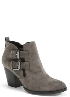 The grey suede is a fabulous and unexpected twist to an otherwise classic fall bootie.