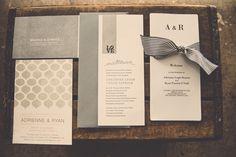 Love the Ribbon Detail on that program @Elizabeth Brown Industrial Romantic Philadelphia Wedding
