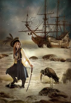 "Pirates:  ""#Pirate Woman,"" by CindysArt, at deviantART."