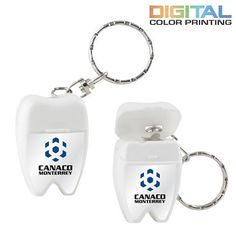 Promotional Tooth Shaped Dental Floss With Keychain #dental #promoproducts #advertising | Customized Dental Floss | Advertising Dental Floss
