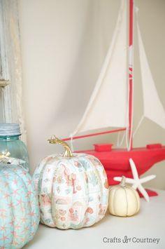 Coastal Mod Podge Pumpkins: Fall Home Tour: Coastal Style!! Crafts by Courtney
