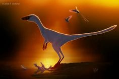 *Sinocalliopteryx gigas in the Early Cretaceous (122–125 million years ago)