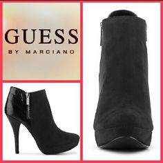 """Guess Newport Black Ankle Bootie NIB Strut your stuff in the Newport bootie by Guess! This platform has a reptile embossed back and decorative side zipper that can be perfectly paired with any outfit. These are great for work or a night on the town. Retails for $109. Features: *Suede and reptile embossed upper *Decorative outside zipper *Inside zipper closure *Almond toe *1"""" platform *4"""" covered heel *Synthetic sole *Color - Black *Size 9.5 63.14 Guess Shoes Ankle Boots & Booties"""
