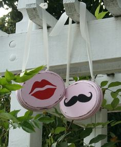 Mustache and Lips Rustic Wedding chair signs