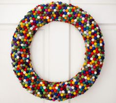 Pompom ball wreath-a house in the hills - interiors, style, food, and dogs