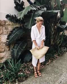 Summer whites, tan sandals, basket bag.