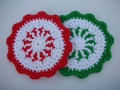Whiskers & Wool: Peppermint Coaster Crochet Patttern - FREE - I'm on a coaster kick - Christmas gift ideas for those out-of-staters