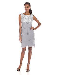 5cbc3de22342 Jessica Howard Women's Boatneck Empire Waist Dress with Artichoke Skirt,  Silver, 6 Jessica Howard