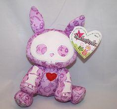 "NEW Skelanimals 6"" Plush Jack the Rabbit Purple Stuffed Animal Heart Lavender"