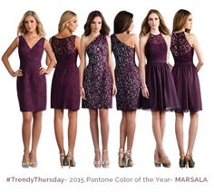 2015 Pantone Color of the Year, Marsala. Get these cocktail Jasmine Bridesmaids dresses! Marsala style