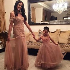 Champagne Tulle Mermaid Prom Dresses 2017 Charming Mother And Daughter Dress HandMade Flower Long Formal Evening Party Dress