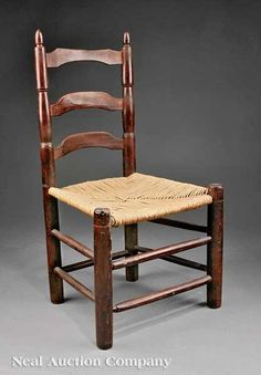 Louisiana Slat Back Side Chair. Turned Mulberry With Later Rush Seat. River  Parishes