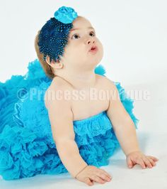 Turquoise Polka Dot Rose Feather Headbands for Babies - Princess Bowtique